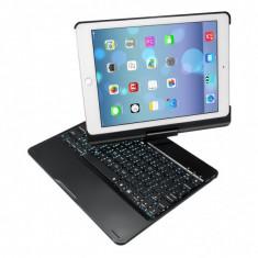 Husa carcasa cu tastatura LED Bluetooth Wireless pentru iPad Air / iPad Air 2 / iPad 9.7 2017 / 2018 din aliaj aluminiu, negru - Husa Tableta