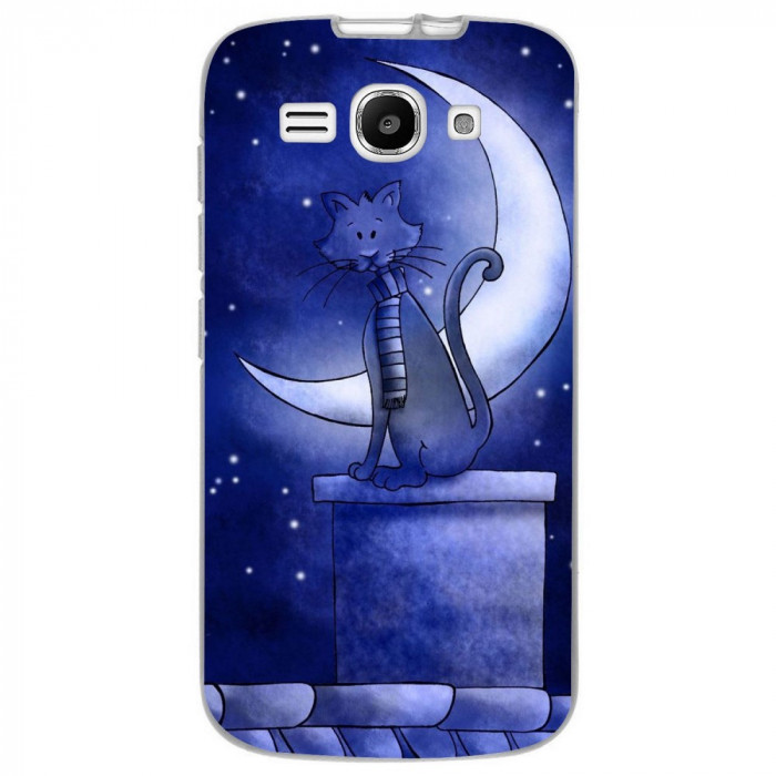 Husa Blue Cat And The Moon HUAWEI Ascend Y520 foto mare
