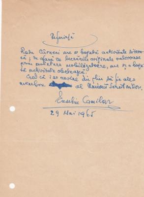 Scrisoare Eusebiu Camilar foto