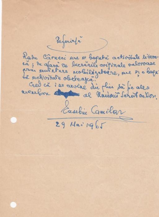 Scrisoare Eusebiu Camilar foto mare