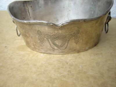 Fructiera vintage din alpaca argintata foto