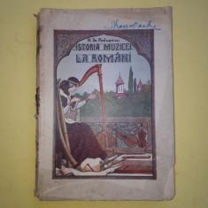 ISTORIA MUZICII LA ROMANI = M POSLUSNICU = AN 1928 - deslipita