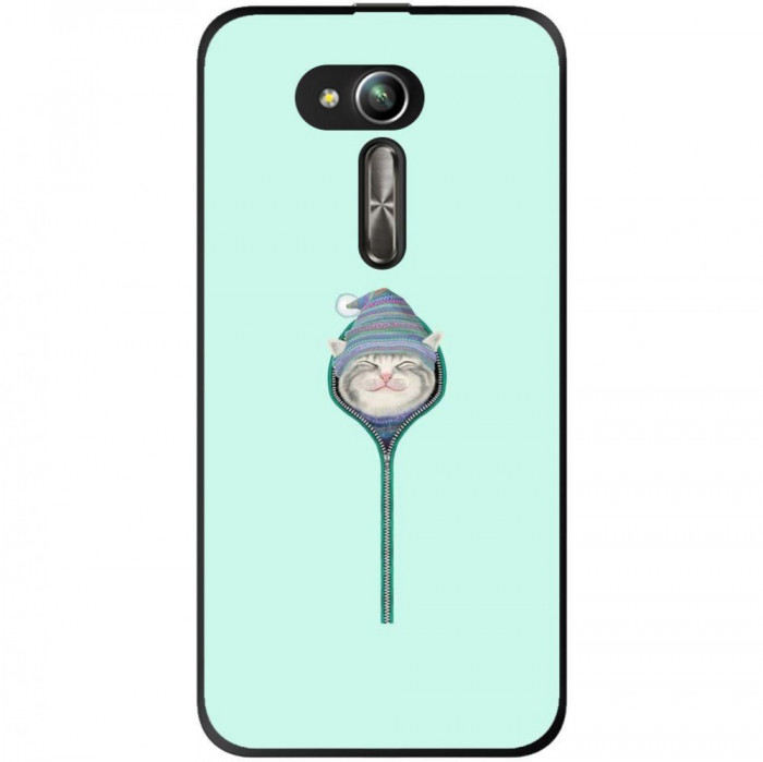 Husa Cute Smiling Cat Zipper Hat Asus Zenfone Go Zb500kg foto mare