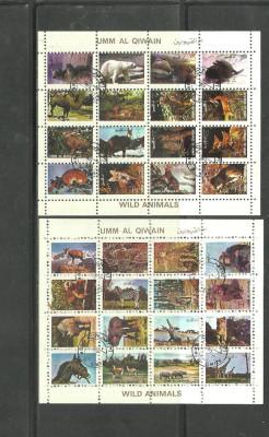 UMM AL QIWAIN 1973 - ANIMALE SALBATICE, colite stampilate, T75 foto
