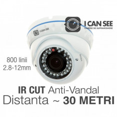 Camera supraveghere video ICSAV-C80, Dome Anti-Vandal Rezolutie 800 Linii TV - Camera CCTV ICANSEE