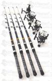 Set 4 Lansete Black Panther 3.0 m cu 4 mulinete NBR 50 cu 5 rulmenti
