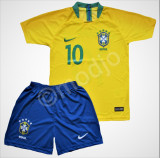 Compleu Echipament Fotbal NEYMAR BRAZILIA WORLD CUP 2018  copii 7  la 15 ani, YL, YM, YS, YXL, YXXL, Set echipament fotbal
