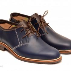 Pantofi barbati piele naturala bleumarin casual cu siret cod P122, Marime: 39, 40, 41, 42, 43, 44, 45