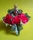 Statuie icoana statueta catolica Fecioara Maria Madona metal argintat, foita aur