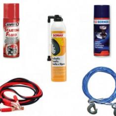 Pachet Depanare (Spray pana, Cablu tractare, Cabluri pornire, Solutie suruburi, Spray pornire motor)