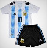 Compleu Echipament Fotbal MESSI ARGENTINA WORLD CUP 2018  copii 5  la 15 ani, YXL, YXS, YXXL, Tricou + Pantalon
