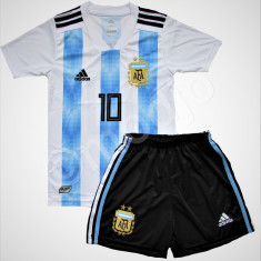 Compleu Echipament Fotbal MESSI ARGENTINA WORLD CUP 2018 copii 5 la 15 ani, Marime: YXXL, YXL, YL, YM, YS, YXS, Set echipament fotbal