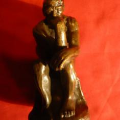 Statueta Ganditorul -bronz ,Reproducere dupa Rodin , h= 12,5 cm