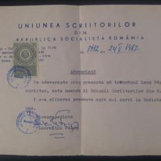 Adeverinta Leon Sarateanu//Uniunea Scriitorilor, 1982, semnatura Laurentiu Fulga