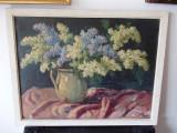"""""""Vas cu flori de liliac"""", ulei, semnat dreapta jos, datat 1938, Impresionism"""