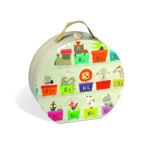 Resigilat - Puzzle In Cutie - Trenul-Alfabet Gigant - Janod (J02928)