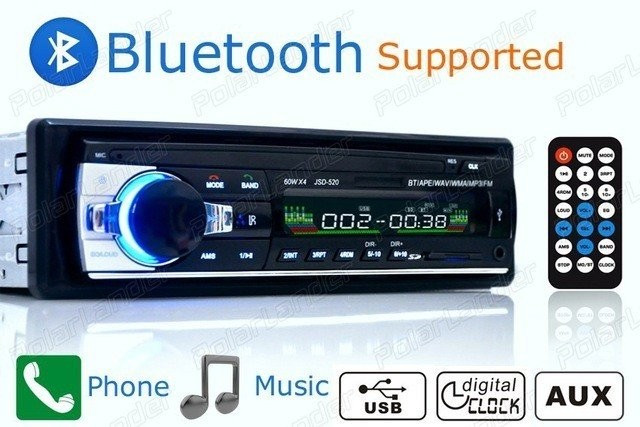 Casetofon Auto Bluetooth USB MP3 player Radio Telefon Telecomanda 50w