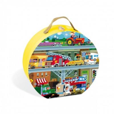 Resigilat - Puzzle In Cutie - Vehicule (100 Piese) - Janod (J02877) foto