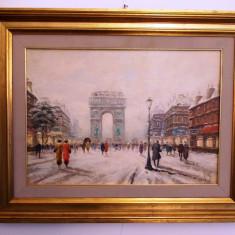 """""""La Paris"""", ulei panza lipita pe carton, semnat dreapta jos, 92x72 cm, Scene gen, Altul"""