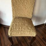 Set 6 huse scaune creponate si elastice - Bej Inchis