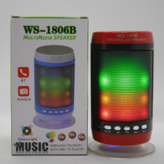 Boxa portabila bluetooth WS-1806B, USB, FM cu lumini / led-uri