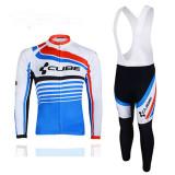Echipament ciclism CUBE albastru complet iarna toamna set NOU bluza pantaloni, Tricouri
