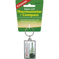 Coghlans Breloc / accesoriu fermoar cu Termometru si busola compass 9714