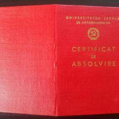 Certificat de absolvire Universitatea Serala de Marxism-Leninism - Diploma/Certificat