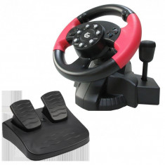 Volan cu pedale Gembird Multi Interface, Vibratii, Negru Rosu