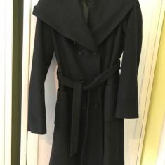 Palton subțire, pardesiu, cu glugă, casual, stofă, S/M, negru - Palton dama