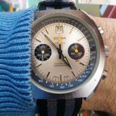 51mm Sicura Breitling cronograf elvetian rar Valjoux 7734 panda anii 70 - Ceas barbatesc Breitling, Mecanic-Manual