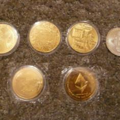 Monede Bitcoin aurii, Suvenir moneda de colectie placata cu aur 24, model 1, Europa