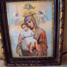 Icoana veche litografie cu rama si geam Fecioara Maria Maica Domnului