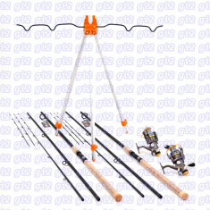 Kit feeder 2 lansete carbon WINDBLADE 3, 9m, 2 mulinete COR 4000 SI RODPOD - Set pescuit
