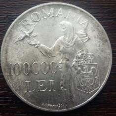 (A178) MONEDA DIN ARGINT ROMANIA - 100.000 LEI 1946, REGELE MIHAI I - Moneda Romania