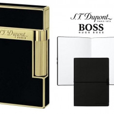 Set Bricheta S.T. Dupont Ligne 2 Black Lacquer Yellow Gold si Note Pad Black Hugo Boss - Bricheta Cu benzina