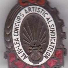 Insigna CCS  Al-IV-lea Concurs Artistic al Sindicatelor 1956
