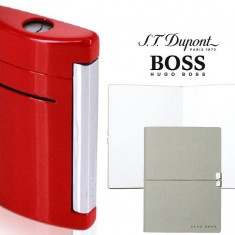 Set S.T. Dupont Minijet Lighter si Note Pad Grey Hugo Boss - Bricheta Cu benzina