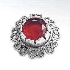 Brosa argint 925 floare cu zirconiu rosu
