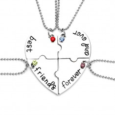 Set Medalioane Lantisoare Best Friend Friends Inima (4 buc) - Lantisor fashion