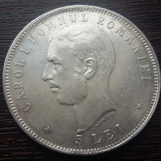 (R) MONEDA DIN ARGINT ROMANIA - 5 LEI 1906, CAROL I - Moneda Romania