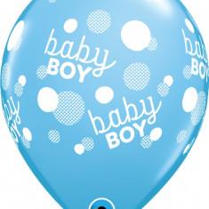 Baloane latex 12''/ 30 cm Blue- Baby Boy Dots, Qualatex 57604, Set 6 buc