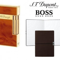 Set Bricheta S.T.Dupont Ligne 2 Atelier Brown si Note Pad Burgundy Hugo Boss - Bricheta Cu benzina