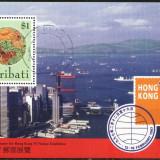 KIRIBATI 1997 - FLUTURI, FLORI, VEDERE HOHG KONG, colita stampilata S128, Natura, Stampilat
