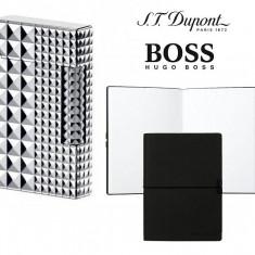 Set Bricheta S.T. Dupont Ligne 2 Palladium Iconic Diamond Head si Note Pad Black Hugo Boss - Bricheta Cu benzina