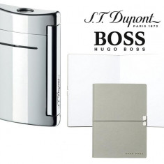 Set Minijet Lighter Silver S.T. Dupont si Note Pad Grey Hugo Boss - Bricheta Cu benzina