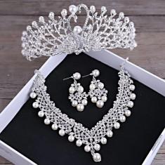Set diadema + colier + cercei cu perle si cristale tip Swarovski