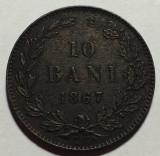 10 bani 1867 Watt & Co, Bronz, Romania  XF