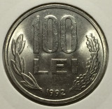 100 Lei 1992 Romania  UNC,  Luciu de batere, Fier