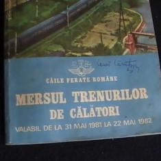 MERSUL TRENURILOR DE CALATORI-31 MAI/1981-22 MAI/1982- - Carti Transporturi
